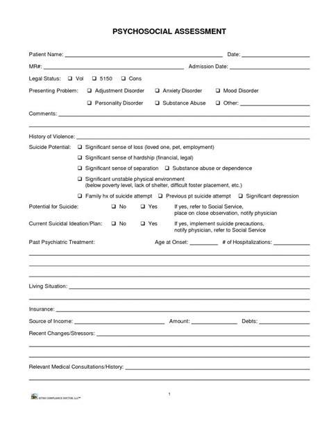 biopsychosocial assessment questions templates