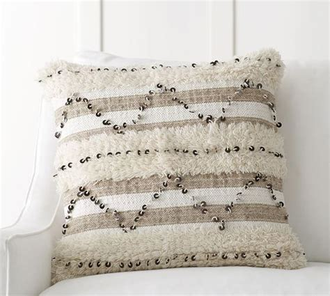 Beige Sequin Moroccan Pillow Cover