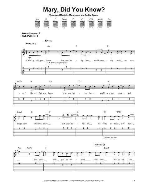 Find your perfect arrangement and access a variety of transpositions so you can print and play instantly, anywhere. Mary, Did You Know? Sheet Music | Mark Lowry | Easy Guitar Tab