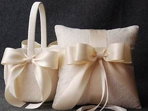 wedding ring pillow and flower girl basket set ivory With wedding ring pillow sets