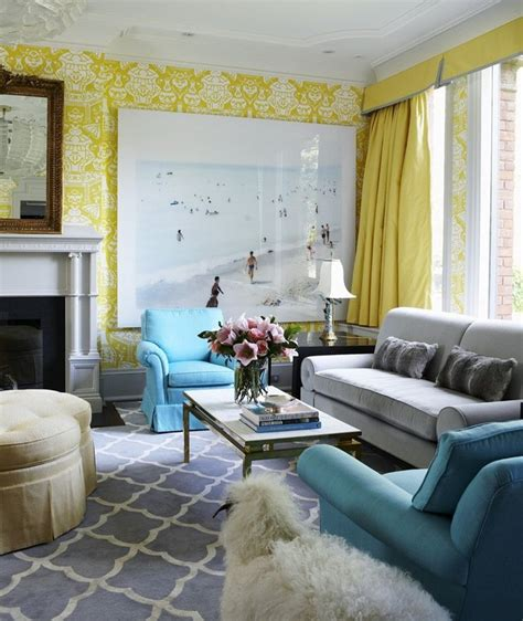 Decorating Ideas For Living Room With Blue Carpet by Coral Yellow Green With Gray Yellow Damask