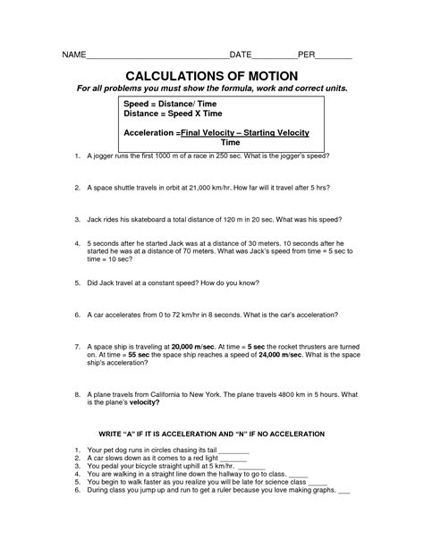 speed and motion worksheets worksheets for all