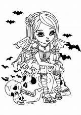 Coloring Vampire Halloween Fille Adult Coloriage Colorare Adults Jolie Erwachsene Colorear Skull Adulti Cartoon Disegni Pretty Malbuch Fur Kawaii Adultos sketch template