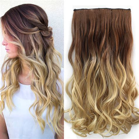Hot Two Tone 24inch One Piece Curly Hair Clip In On Ombre