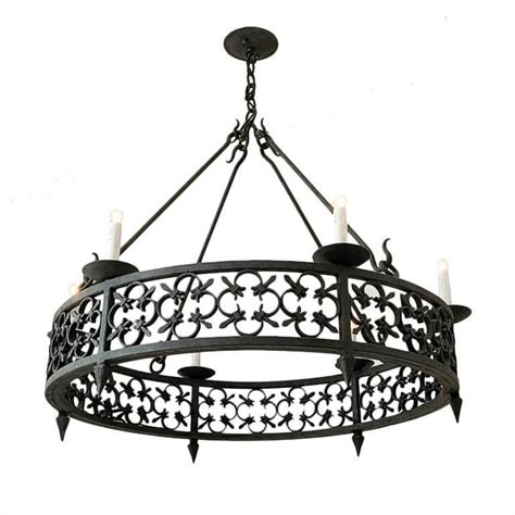 Large Circular Chandelier by Large Wrought Iron Chandelier With Modified Fleur De