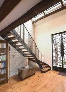 Escalier Droit Avec D U00e9part Balanc U00e9 Fer Et Bois De Style