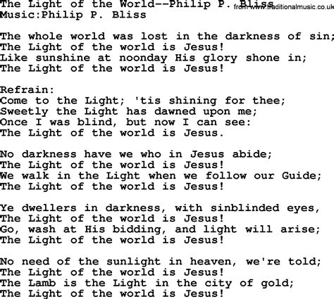 the light of the world by philip bliss christian hymn or
