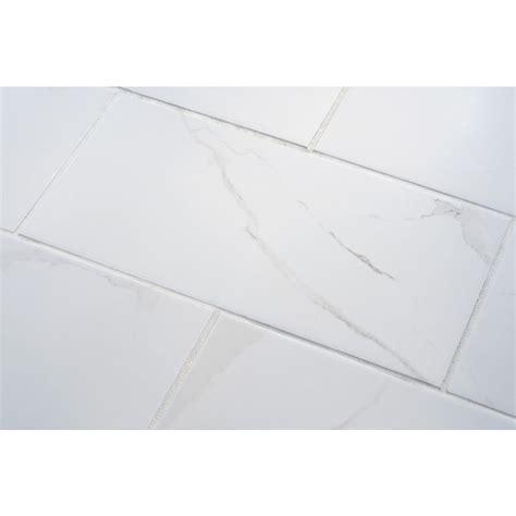 White Porcelain Tile by Shop 7 Pack Calacatta White Glazed Porcelain Floor Tile