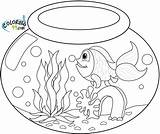 Goldfish Coloring Bowl Pages Fish Drawing Fishbowl Water Printable Realistic Template sketch template