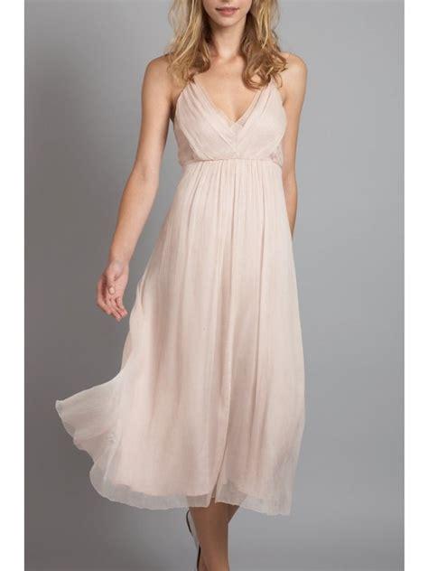 light blush pink dress light weight light pink bridesmaid dress with v neckline