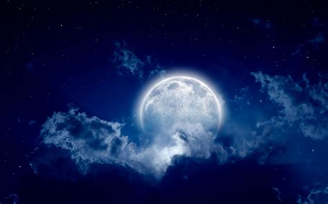 Moon, full moon, night, cloudy night, beautiful scene, sky