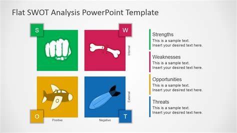flat swot analysis  template slidemodel