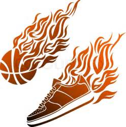 Basketball with Flames Vector