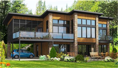 Contemporary Home Plan With All Beds Down  90241pd  Cad