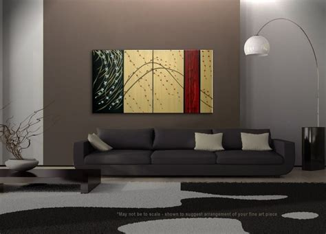 Large Cherry Blossom Painting Gold Red Black Abstract