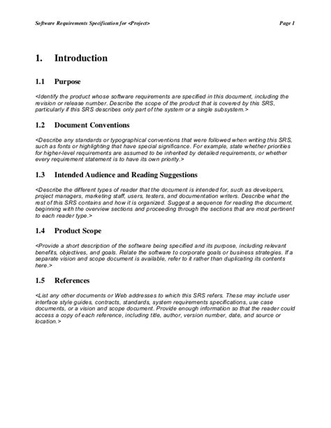 Srs Software Requirement Specification Template by Srs Template 1