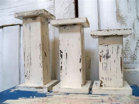 handmade wooden candle holders large chunky white distressed