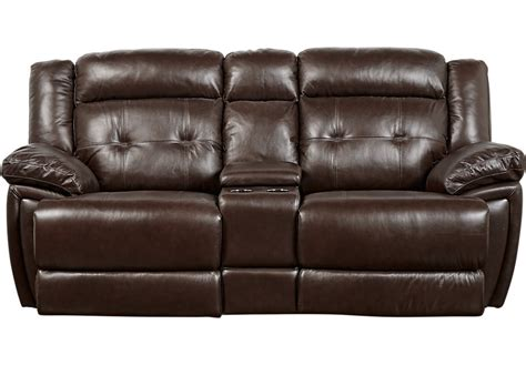 Leather Reclining Loveseat With Center Console by Rhone Valley Brown Leather Power Reclining Console