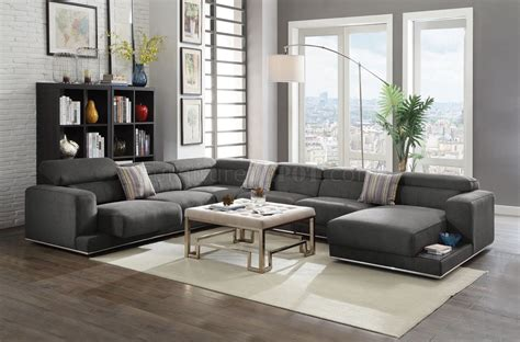 Alwin Sectional Sofa 53720 In Dark Gray Fabric By Acme W