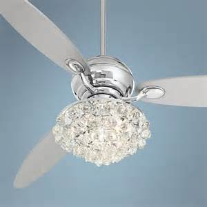Ceiling Fan With Crystal Chandelier Light Kit by 60 Quot Spyder Polished Chrome Crystal Ceiling Fan R2180