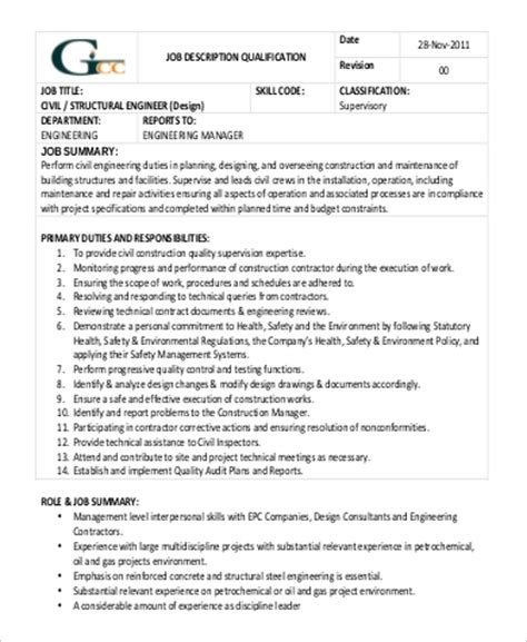 structural engineer job description structural engineer job description sample 9 examples