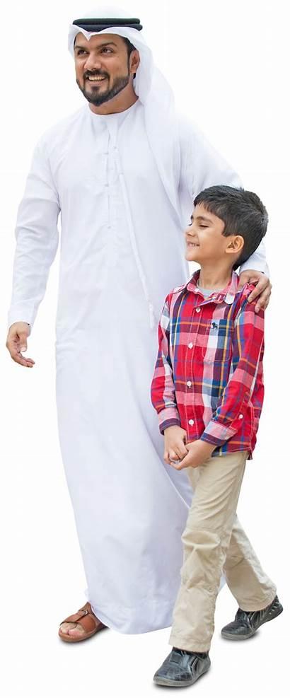 Arab Walking Son Dad Cut Mrcutout Muslim