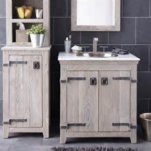 creative distressed wood bathroom vanities using rustic white oak cabinets with antique iron