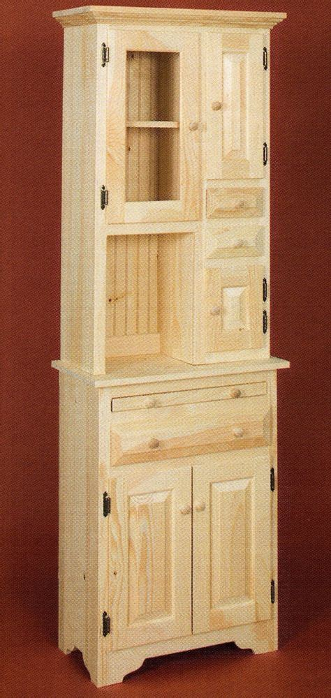 amish unfinished solid pine small hoosier cabinet  glass door pantry storage amishmade