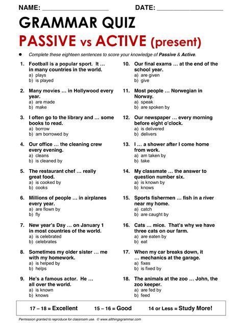english grammar passive  active present www