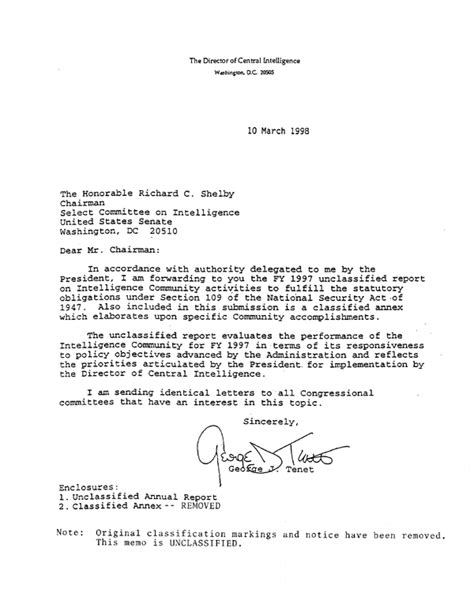 Letter from DCI Releasing FY97 Intelligence Community