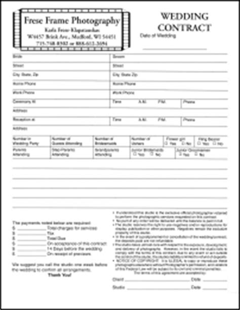 wedding photography contract forms
