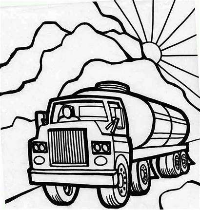 Coloring Semi Truck Pages Oil Carrier Trucks