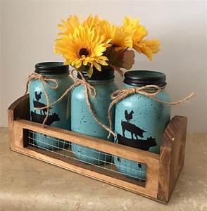 Mason, Jar, Kitchen, Utensil, Holders, Mason, Jar, Decor, Farmhouse, Decor, Farm, Animal, Decor, Sunflower