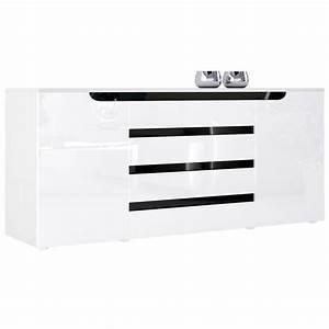 Sideboard Weiß Schwarz : hochglanz sylt v2 mit bunten absetzungen griffmulden ~ Orissabook.com Haus und Dekorationen