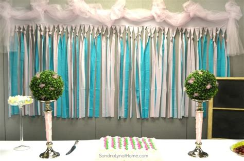 plastic drop cloth decorating for a baby shower lyn at home
