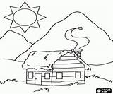 Coloring Cabin Mountain Log Pages Cabins Sketch Template Bergen Printable Woods Templates Sketches Draw sketch template