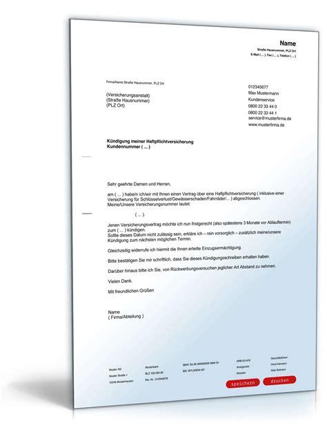 kuendigung haftpflichtversicherung vorlage zum