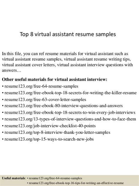Best Exle Of A Assistant Resume by Top 8 Assistant Resume Sles