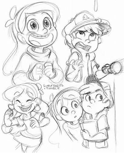 Gravity Falls Sketches Dipper Mabel Pines Fan