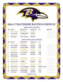 Baltimore Ravens 2016 2017 Schedule Printable