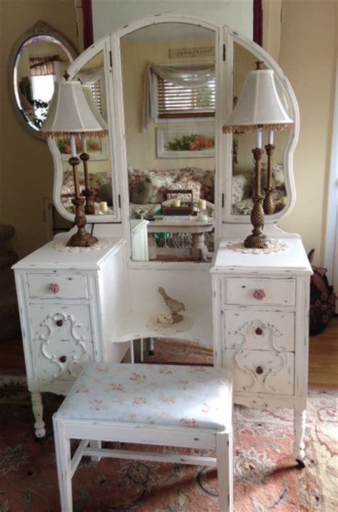 antique shabby chic shabby chic antique chippy white vintage vanity with tri fold