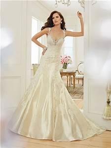 mermaid sweetheart keyhole open back light gold satin lace With light gold wedding dress