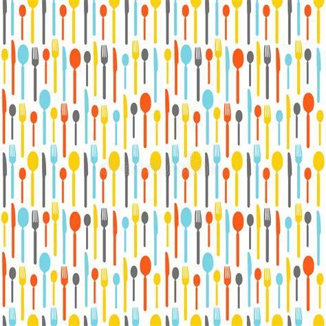 Colorful Seamless Pattern With Silhouettes Of Cutlery