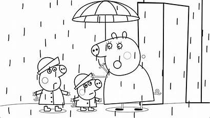 Peppa Pig Coloring Pages Rain Rainy George
