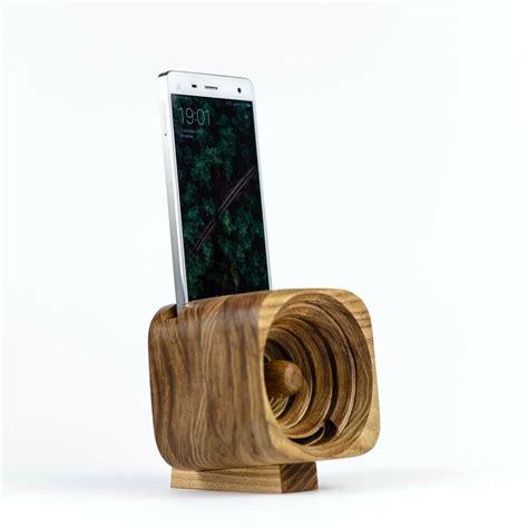 acoustic wooden iphone   samsung speaker passive wood
