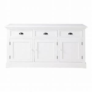 Buffet Bas Blanc : buffet en bois blanc l 156 cm newport maisons du monde ~ Teatrodelosmanantiales.com Idées de Décoration