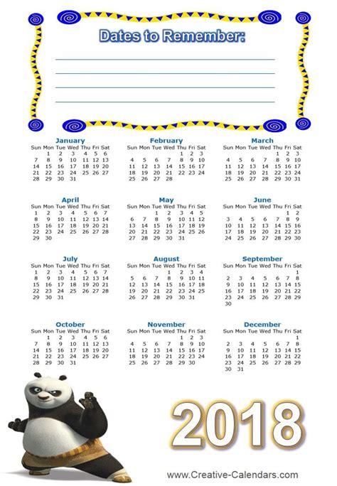 printable kung fu calendars