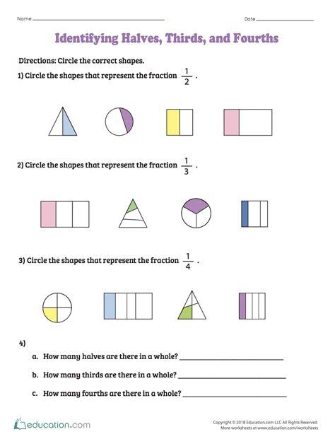 identifying halves thirds and fourths kindergarten math fractions worksheets 2nd grade