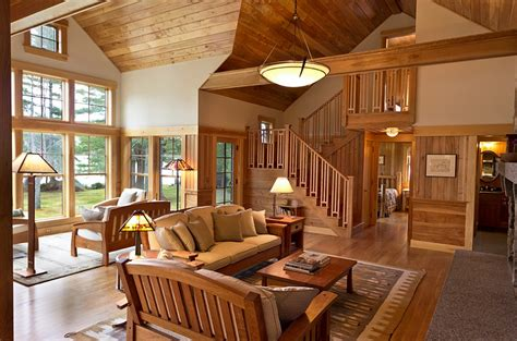 Southern Living Family Rooms by Cozy Cabin Retreat Combines Warmth Of Wood With A Bright