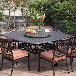 Darlee st cruz 9 piece cast aluminum patio dining set for Patio dining furniture